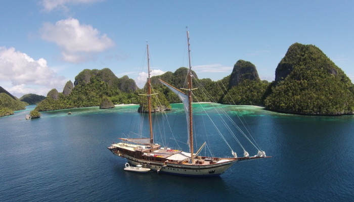 raja ampat sailing yacht at anchor